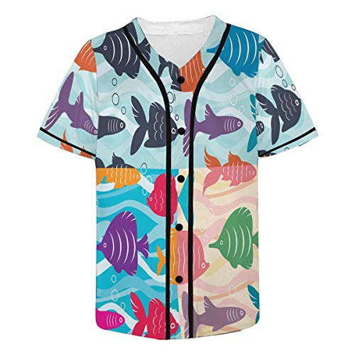 Stock Jersey Baseball (InterestPrint Men's Colorful Bright Fish Stock Baseball Jersey Button Down T Shirts Plain Short Sleeve 2XL)