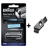 Braun Series 3340 Electric Shaver - Braun 32S Series 3 Electric Shaver Replacement Silver Foil and Cutter Cassette with Cleaning Brush