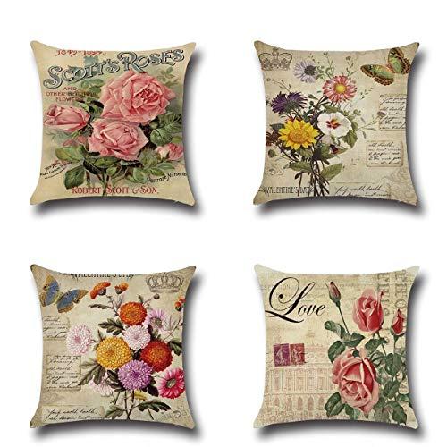 QISHOP Throw Pillow Cover 18x18 Set of 4 Linen Cotton Blend Decorative Design Zippered Sofa Home Decor(Flower)