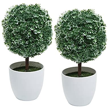 Set of 2 Artificial Faux Potted Tabletop White Flower Plant Topiary w/ White Planter Pots - MyGift® Home