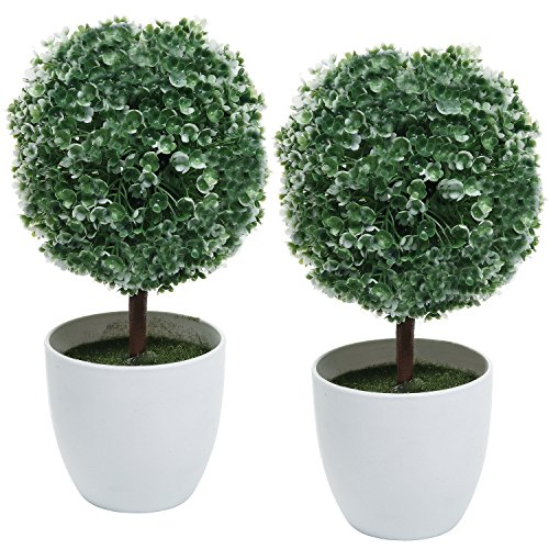 Set Of 2 Artificial Faux Potted Tabletop White Flower Plant Topiary W/  White Planter Pots   MyGift Home