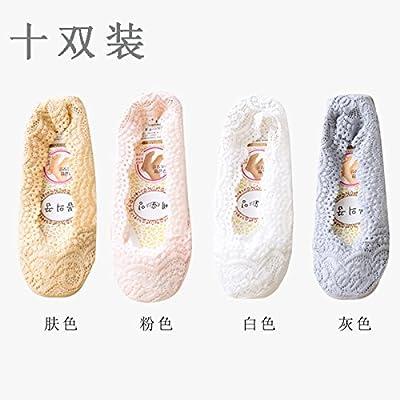 Maivasyy 10 paires de chaussettes Chaussettes Bateau furtif dentelle antiglisse Silicone Femme en soie de glace dentelle de coton d'été l'article ultra légers des chaussures et des chaussettes, teint gris