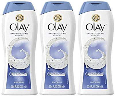 Olay Daily Exfoliating Body Wash with Sea Salts, 23.6 Ounce (Pack of 3)