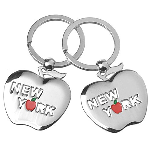 2X Silver Toned Solid Big Apple shaped