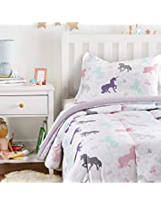 AmazonBasics Easy-Wash Microfiber Kid's Comforter and Pillow Sham Set - Twin, Purple Unicorns