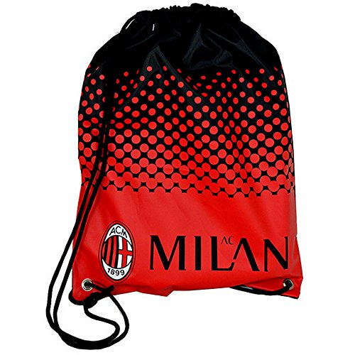 - AC Milan Official Fade Soccer Crest Design Gym Bag (One Size) (Red/Black)