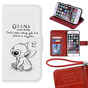 "iPhone 6S Plus Wallet Case [5.5""], TwoDee - Disney's Lilo & Stitch Ohana Premium PU Leather Case Wallet Flip Stand Case Cover for iPhone 6S Plus with Card Slots"
