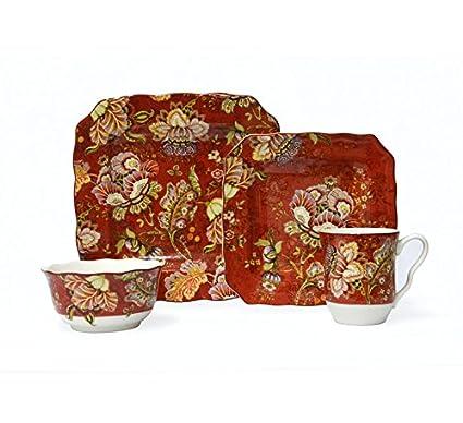 Amazon.com | 222 Fifth Gabrielle Red 16-piece Dinnerware Set ...