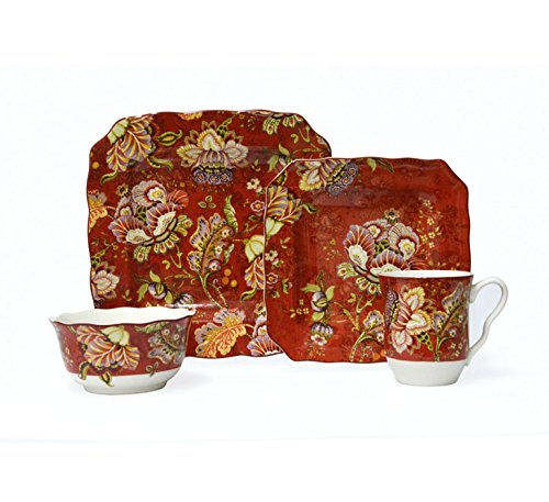 Gabrielle Red 16 Piece Dinnerware Set ()