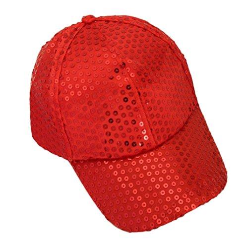 Voberry Women Sequins Shiny Flashy Sunscreen Baseball Hat Ball Cap Adjustable (Red)