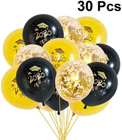 PRETYZOOM 2020卒業ラテックス風船クラス2020パーティー装飾博士キャップ風船卒業パーティー装飾用30ピース(黒+金+黄色)