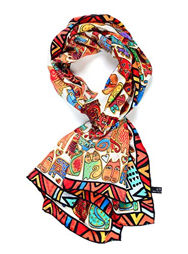 Scarf Cats Patterns - Salutto Women 100% Silk Scarves Cat Painted Scarf