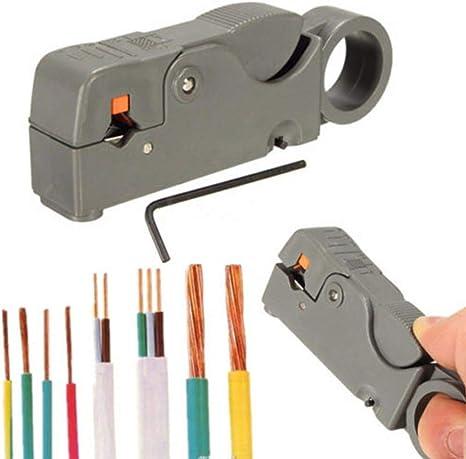 Gaocunh Pelacables coaxial, cortador universal para cable plano o redondo TV/UTP Cat5 Cat6 alambre coaxial pelacables herramienta: Amazon.es: Bricolaje y herramientas