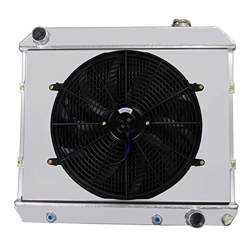 Primecooling 3 Row All Aluminum Radiator +Fan (16 Inches Dia.) Kits w/ Shroud for Chevy C10 C20 C30 K10 K20 Pickup Truck &Many GM Models 1961-1966 - 1965 Chevy C10 Truck