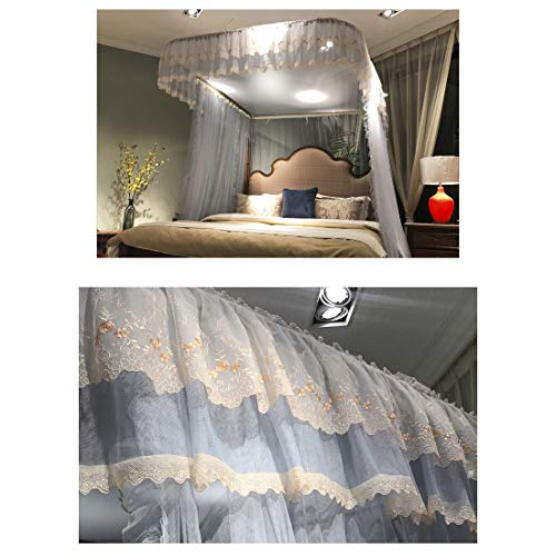 Princess Mosquito Net Stainless Steel Encryption Lace Side Nets 360° Fly Insect Protection Tent for Full Indoor Decorative,BlueGray,200220CM by LINLIN MOSQUITO NET (Image #1)
