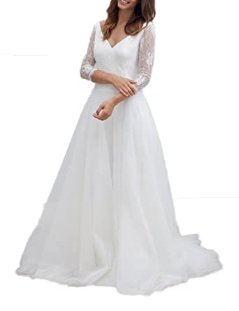 Vweil V-Neck Half Sleeves Sheer Lace Bridal Gowns Rustic Vestido De novia For Bride at Amazon Womens Clothing store: