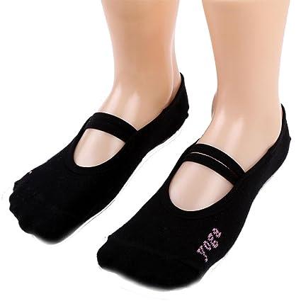 Sannysis calcetines running, calcetines de yoga sin resbalar (negro)