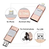 USB Flash Drives for iPhone 32GB Pen-Drive Memory Storage, G-TING Jump Drive Lightning Memory Stick External Storage, Memory Expansion for Apple IOS Android Computers (Pink)