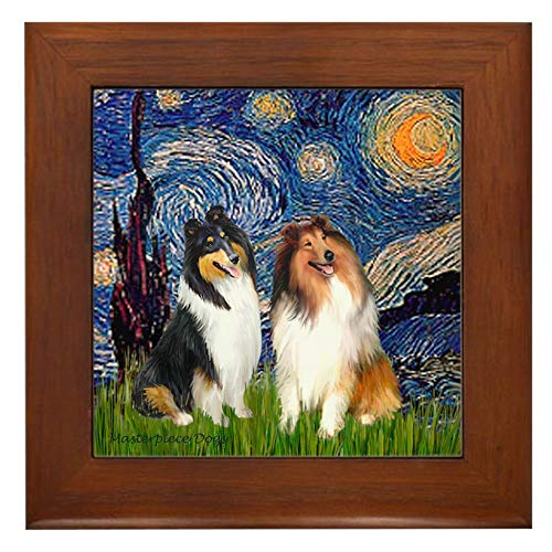 CafePress Starry Night/Collie Pair Framed Tile, Decorative Tile Wall Hanging