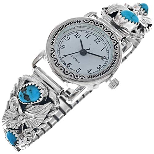 Navajo Turquoise Silver Bracelet Watch Ladies Sterling Tips by Jeanette Saunders 1850