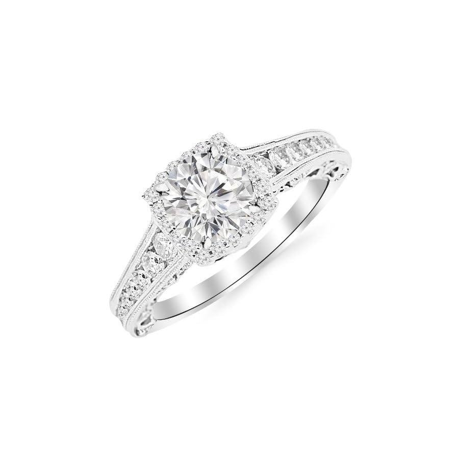 1.5 Carat 14K White Gold Vintage Halo Style Channel Set Round Brilliant Diamond Engagement Ring Milgrain with a 0.75 Carat Moissanite Center