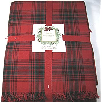 Ridgefield Home Christmas Plaid Fabric Tablecloth 100% Cotton 60 X 60 Square  (60 X