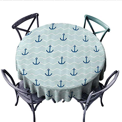 Anchor Decor Collection Dinning Tabletop DecorSimple Pattern Anchor Stripe Horizontal Zig Zag Pattern Classic Old Style Art Print Dust-Proof Round Tablecloth (Round, 50 Inch, Navy Blue White)