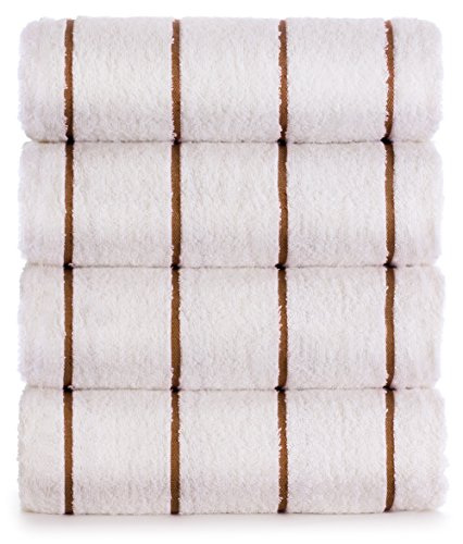 Premium Quality 100% Turkish Cotton Vertical Stripe 4-Pack Pool Beach Towels, Eco-Friendly (Coffee Brown, 35x65 Inch)