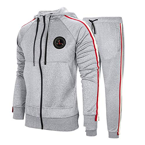DUOFIER Men's Tracksuit 2 Piece Jacket & Pants Jogging Athletic Suit Casual Full Zip Sweatsuit, Gray-XL