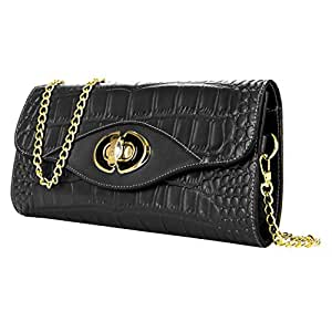 Cassie Croc Fancy Womens 100% Leather Clutch Wallet Evenings, Weekend Purse [Licorice] by VanGoddy For ZTE Grand, Anthem, Avid, Blade, Concord, Director & More...
