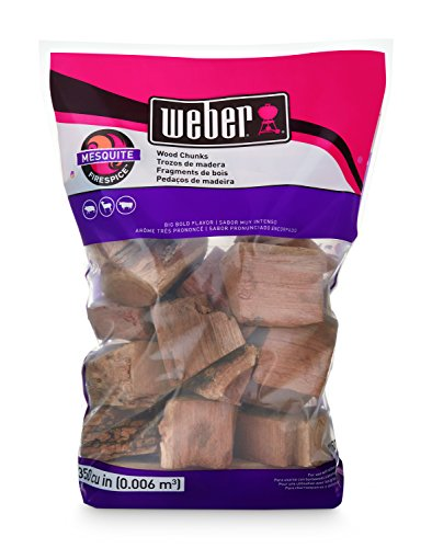 Weber 17150 Mesquite Wood Chunks, 350 cu. in. (0.006 Cubic Meter), 4 lb (Cooking Chunks)