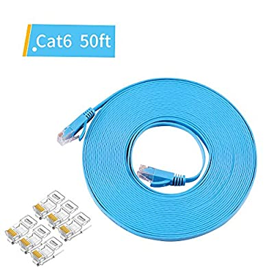 Ethernet Cable(50Feet/15M) – Flat Cat6 Internet Network Cable Patch Cord RJ45 Computer Lan Line Cable Indoor/Outdoor Security POE Camera Network Cable with 6pcs Crystal Head Connectors