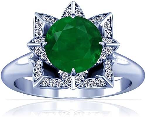 Platinum Round Cut Emerald Ring With Sidestones (GIA Certificate)