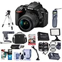 Nikon D5600 DSLR Camera Kit with AF-P DX NIKKOR 18-55mm f/3.5-5.6G VR Lens, Black - Bundle With Camera Case, 64GB SDxC Card, Spare Battery, Tripod, Video Light, Shotgun Mic, Software Package, And More