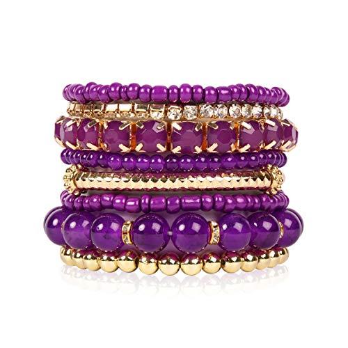 Purple Beaded Cuff - RIAH FASHION Multi Color Stretch Beaded Stackable Bracelets - Layering Bead Strand Statement Bangles (Original - Dark Purple, 7)