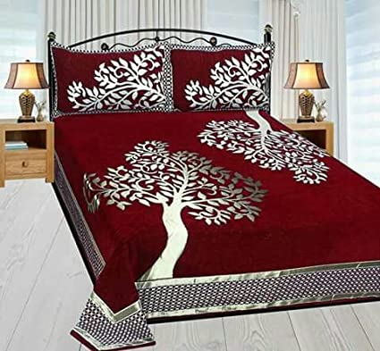 Akshaan Texo Fab 500 TC Chenille Bedsheet with 2 Pillow (Multicolour)
