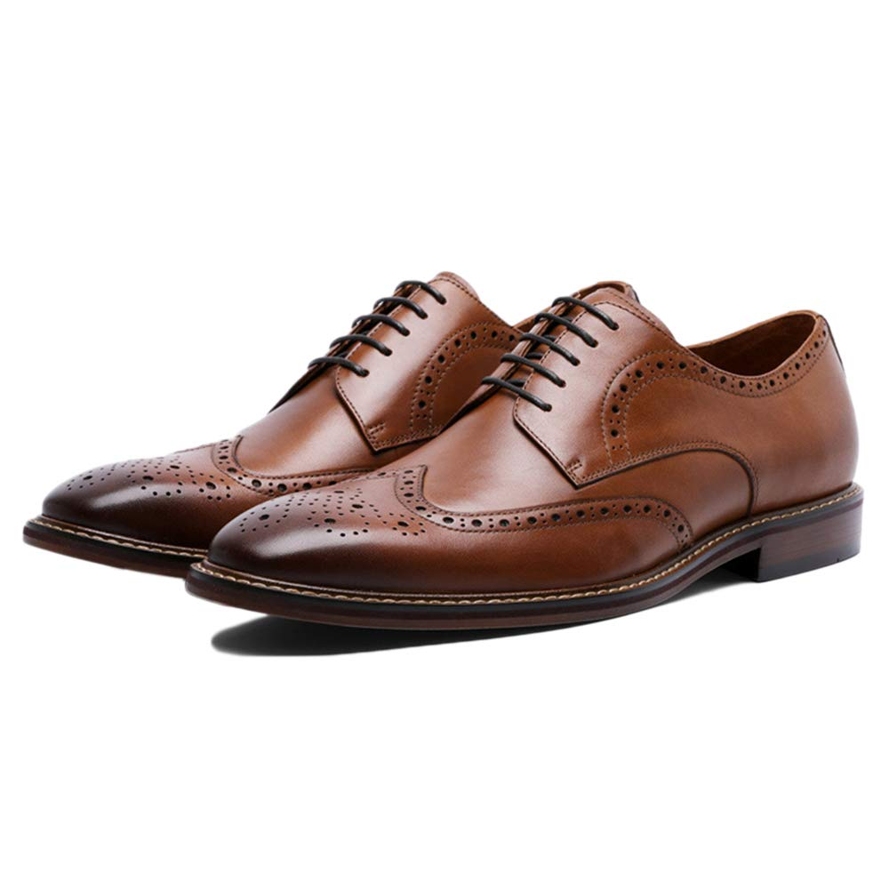 Brown Mens Business shoes Brown Lace-Up Leather Formal Office Pointed Toe Brogues Classic Flat shoes Men's Dress Casual shoes