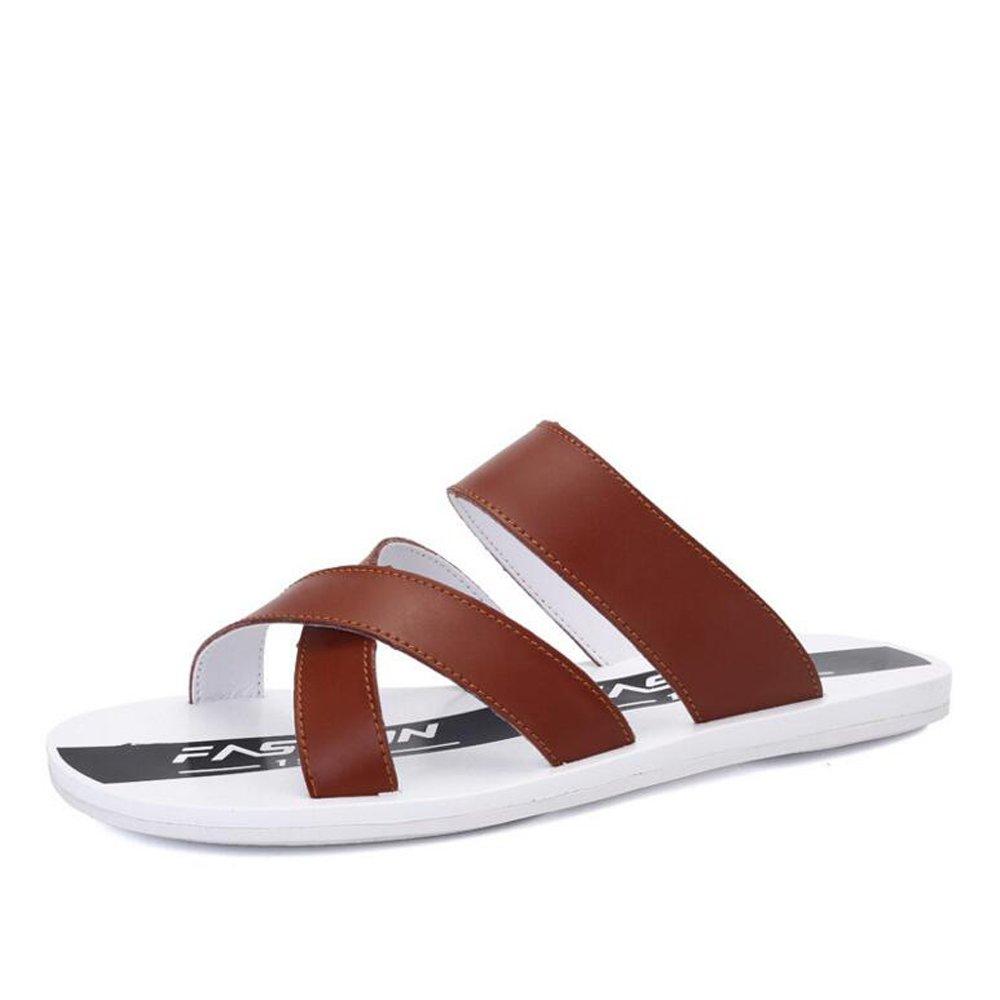 Zapatos de hombre de cuero de verano Casual Beach Style Comfort zapatillas zapatillas de caminar negro azul marrón GAOLIXIA ( Color : Brown , tamaño : 42 ) 42|Brown