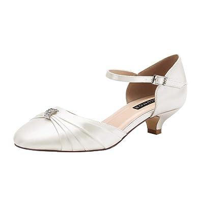 Ladies Satin Mary Jane Low Heel Comfort Shoes Evening Bridesmaid Wedding Strap