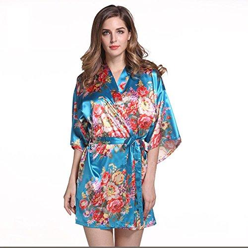 Sra. Pijama de primavera y verano de impresión chándal grande de satén floral bata corta Blue