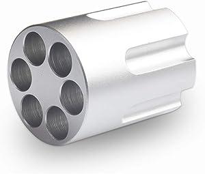 Luonita Gun Cylinder Pen Holder, 6-Hole Aluminium Metal Revolver Pen Pencil Holder Gun Cylinder Design Heavy Duty Non-Slip Aluminum Creative Decoration for Office & Home