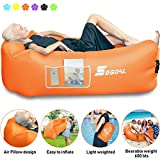 Inflatable Lounger Air Sofa Pouch Inflatable Couch Air Chair Hammock with Pillow Portable Waterproof Anti-Air Leaking for Outdoor Camping Hiking Travel Pool Beach Picnic Backyard Lakeside ( Orange )