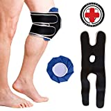 Doctor Developed Knee Ice Pack/Hot & Cold Pack with Wrap/Support Brace to Hold in Place – Ideal for Knee Injuries, Knee Pain, Arthritis, Sprains & Strains and More