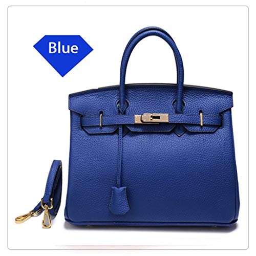 LIUGHGB Leather H Bag Ladies Luxury Shoulder Bags Designer Lock Large Soft Totes Crossbody Bag Dropship Blue L 35X26X18cm