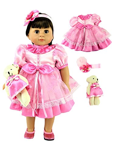 """Pink Flower Dress with Bear -Fits 18"""" American Girl Dolls, Madame Alexander, Our Generation, etc. 