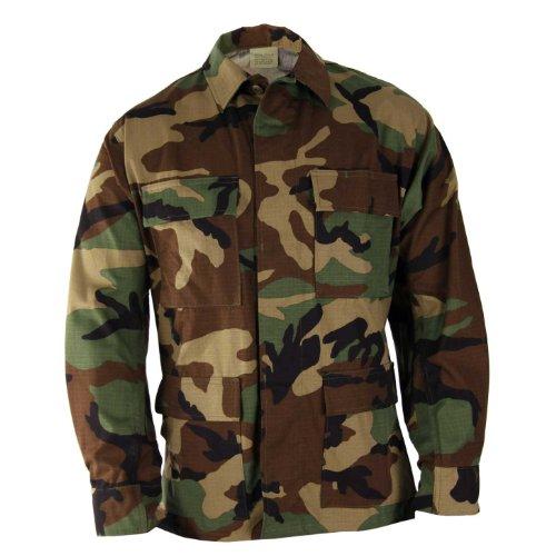(BDU Jacket - Woodland 100% Cotton Ripstop (37-41 Chest 67-71 Length)