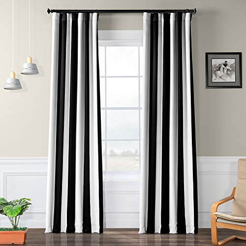 HPD HALF PRICE DRAPES BOCH-KC43-108 Awning Stripe Room Darkening Curtain 50 x 108 Awning Black & White 1 Panel