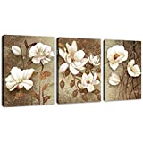 """Vintage Wall Art Flowers Bedroom Wall Decor 3 Pieces Canvas Wall Art White Blossom Bathroom Living Room Decoration 12"""" x 16"""" x 3 Panels Framed Ready to Hang"""