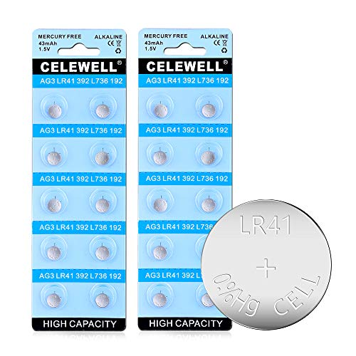 CELEWELL 43mAh 20 Pack LR41 AG3 392 384 Battery 3 Years Warranty for Watch Toy LED Laser Pointer 1.5V Alkaline Coin Button Cell Batteries