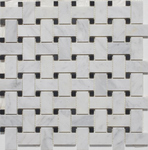 White Marble Basketweave POLISHED Mosaic Tiles With Black Dots   Marble  Tiles   Amazon.com